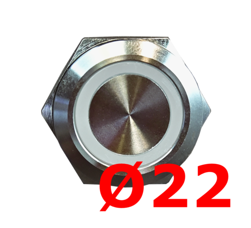 Button Ø22 with illuminated color ring, many different colors